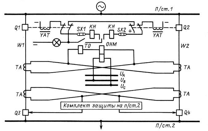 схема поперечной токовой