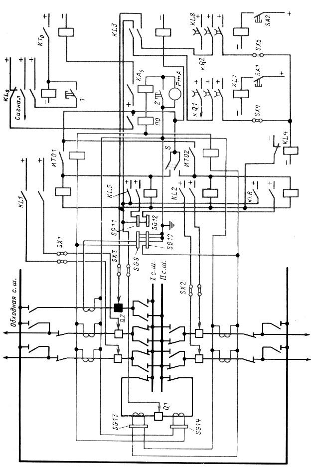 Принципиальная схема дифференциальной токовой защиты двойной системы шин. то же обходного выключателя. ключ...
