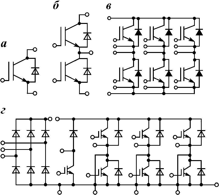...(полумостового); б - трехфазного мостового; в - преобразователя частоты по схеме выпрямитель-инвертор.
