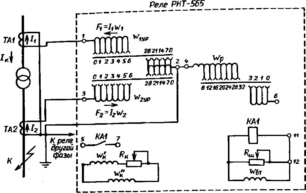 Принципиальная схема включения реле РНТ-565 (для одной фазы) в схеме дифференциальной защиты трансформатора высшего и...
