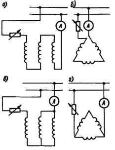 Схемы для сушки асинхронного двигателя постоянным током