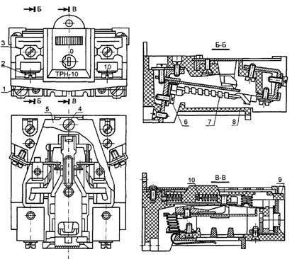 Конструкция теплового реле ТРН-10: 1, 2, 3, 4, 6 - винты; 5 - крышка; 7 - нагревательный элемент; 8 - пластмассовая...