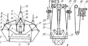 Зажимное грузозахватное устройство с канатным приводом