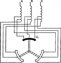схема трехступенчатого переключателя коэффициента трансформации трансформатора